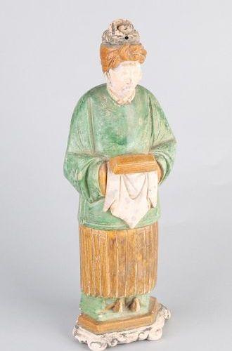 Chinese Sculpture Ancienne figurine chinoise en terre cuite vernissée. Style Min…