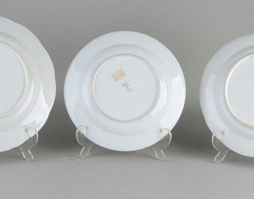 Three antique German porcelain Meissen plates.Various.19th 20th Century.One d…