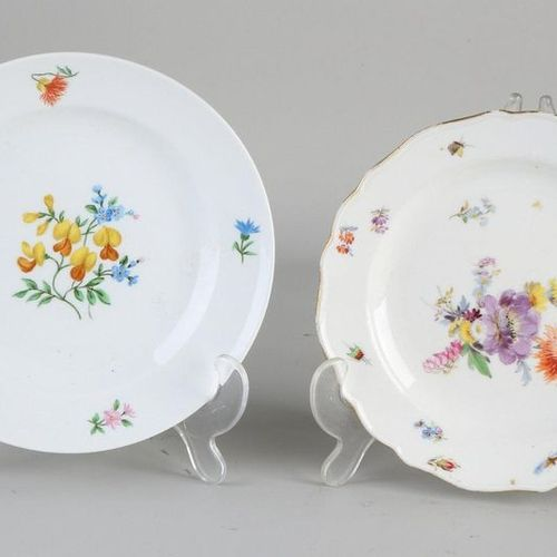 Two hand painted German Meissen porcelain plates with floral decoration.20th ce…
