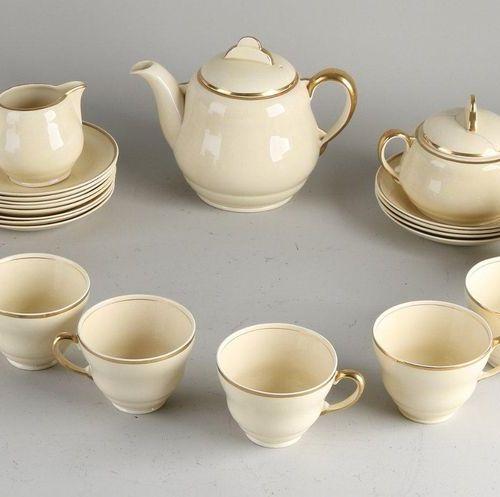 Antique (part) English Art Deco tea service.Signed Clarice Cliff.Circa 1930. C…