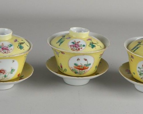 Three pieces of three piece Chinese porcelain Family Rose cups and saucers with …