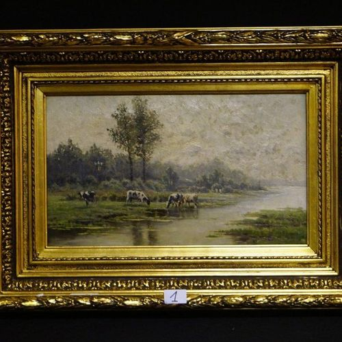 "Léon DELDERENNE (1864 1921) ""Summer landscape with cows by the river"" Oil on can…"