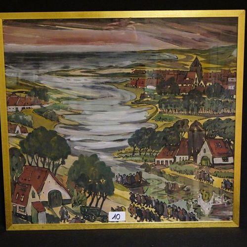 "GUSTAAF SOREL (1905 1981) ""Animated coastal landscape"" Gouache Signed 80 x 86 cm"