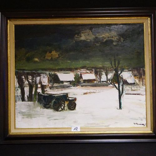 "WALTER TEUNINK (1941 ) ""Winter Landscape"" Oil on canvas Signed 80 x 100 cm"