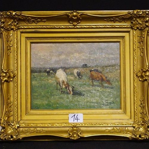 """ISIDORE MEYERS (1836 1916) """"Summer landscape with cattle"""" Oil on panel Signed 20…"""