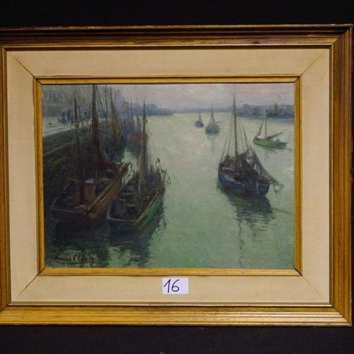 """Louis clesse (1889 1961) """"Fishing port"""" Oil on panel Painted 28 x 38 cm"""