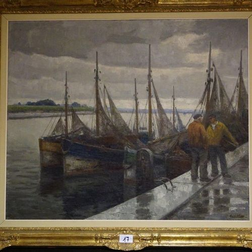 "Louis clesse (1889 1961) ""Le port apres la pluie"" Oil on canvas Signed 100 x 120…"