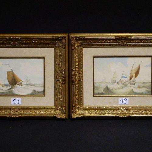 "2 x LOUIS VERBOECKHOVEN (1802 1889) ""Marines"" Watercolour Signed 16 x 23 cm"