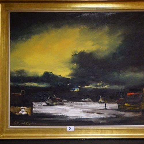 "Paul PERMEKE (1918 1990) ""Winter landscape with hooves"" Oil on canvas Signed 100…"