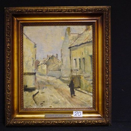 "James ENSOR (1860 1949) ""Vue de rue"" Oil on panel Signed number 55 ""CATALOGUE RA…"