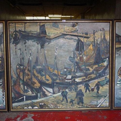 "MAURICE BOEL (1913 1998) ""Visserskaai te Ostend"" Triptych Oil on canvas Signed a…"