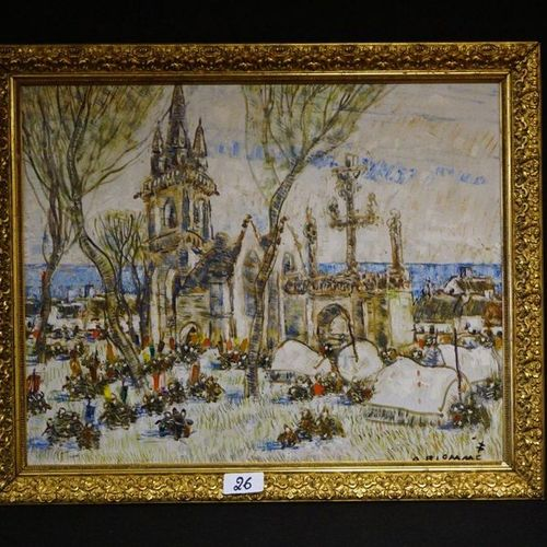 """Alfons BLOMME (1889 1979) """"Animated fishing village"""" Oil on panel Signed 62 x 78…"""