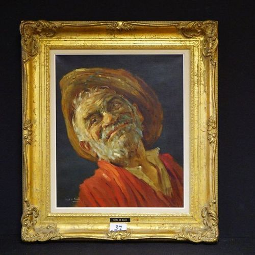 "KAREL DE BAUW (1909 2002) ""Folk figure"" Oil on canvas Signed 60 x 51 cm"