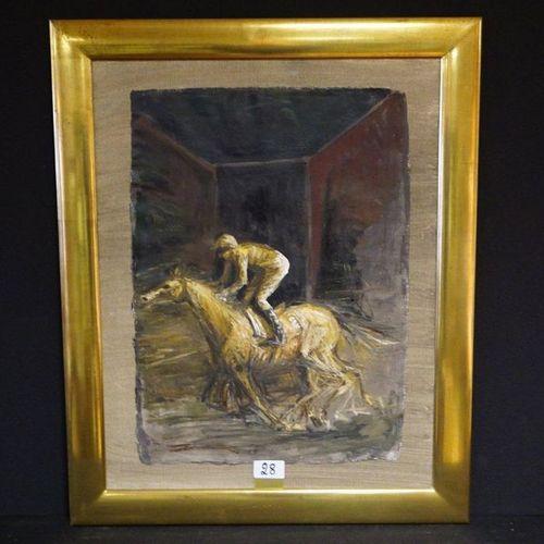 "ROLAND DEVOLDER (1938 ) ""Jockey on horseback"" Oil on canvas Rear signature and d…"