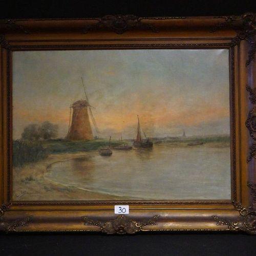 """ROMAIN STEPPE (1859 1927) """"Crépuscule de printemps"""" Oil on canvas Signed and tit…"""