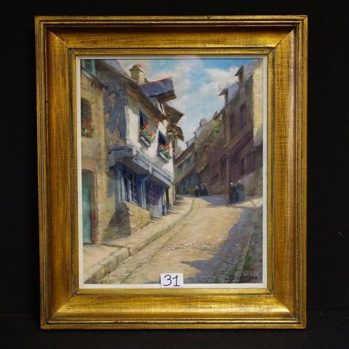 "JULIEN STAPPERS (1875 1960) ""Sunny Southern alley"" Oil on canvas Signed 41 x 33 …"