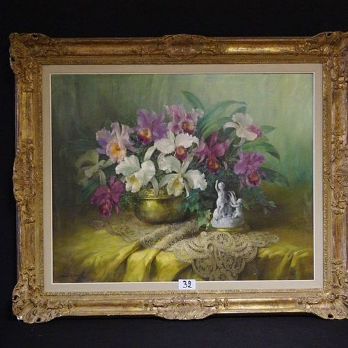 """JULIEN STAPPERS (1875 1960) """"Still life with flowers and statue"""" Oil on canvas S…"""
