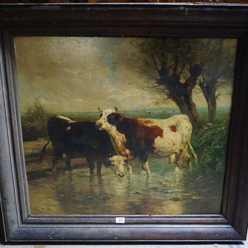 "Henry SCHOUTEN (1857 1927) ""Cows at the watering place"" Oil on canvas Signed 127…"
