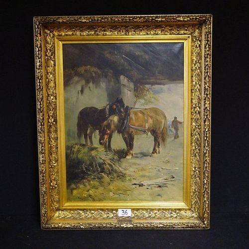 "Henry SCHOUTEN (1857 1927) ""Two farm horses"" Oil on canvas Signed 80 x 60 cm"
