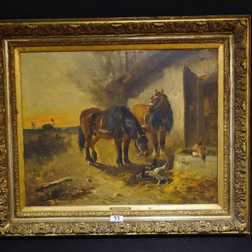 """Henry SCHOUTEN (1857 1927) """"Horses and Chickens"""" Oil on canvas Signed Small rest…"""