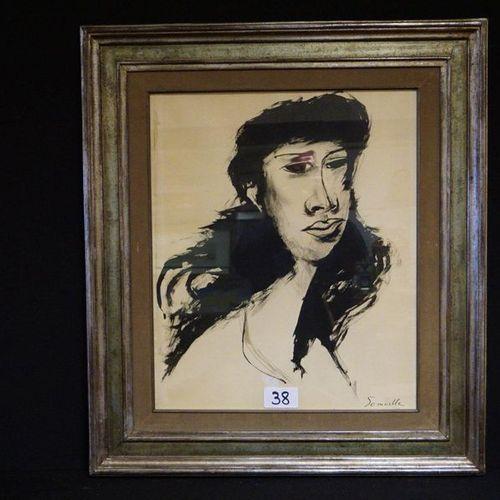 "ROGER SOMVILLE (1923 2014) ""Dreaming girl"" Watercolour Signed 59 x 49 cm"