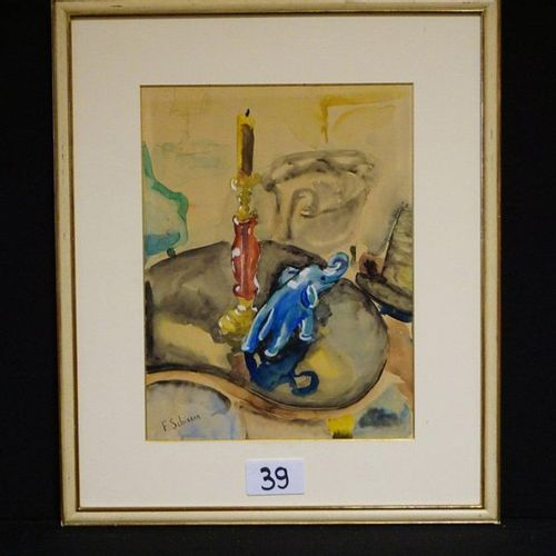 "FERDINAND SCHIRREN (1872 1944) ""Still life with candle"" Watercolour Signed 38 x …"