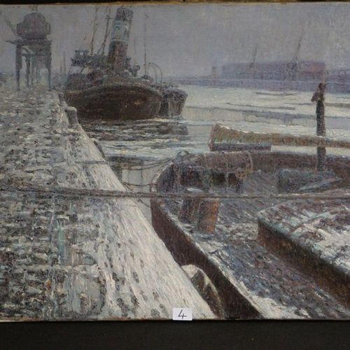 "JAN DE CLERCK (1881 1962) ""Docks of Ostend under the snow"" Oil on canvas Signed …"