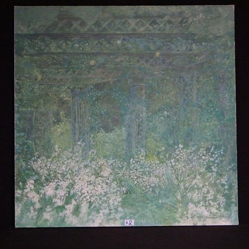 """DOMINIQUE D'ORANGE (1948 ) """"Walk in the pergola"""" Oil on canvas Signed and dated …"""