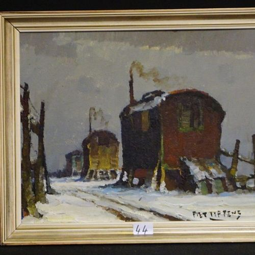 "PIET LIPPENS (1890 1981) ""Gypsy caravans in the snow"" Oil on panel Signed 40 x 5…"