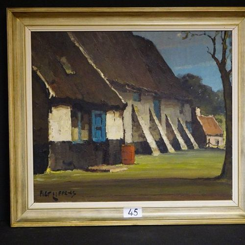 "PIET LIPPENS (1890 1981) ""The big barn"" Oil on canvas Signed 60 x 70 cm"