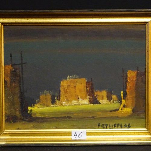 """PIET LIPPENS (1890 1981) """"City View"""" Oil on canvas Signed 30 x 40 cm"""