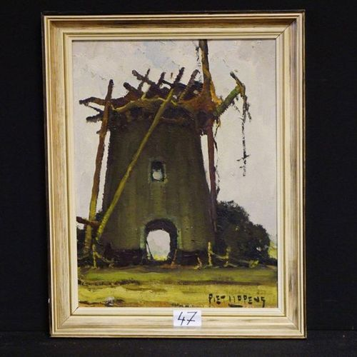 """PIET LIPPENS (1890 1981) """"The old mill"""" Oil on panel Signed 40 x 30 cm"""