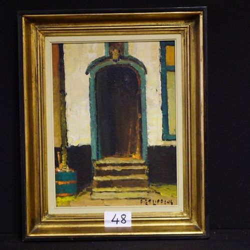 "PIET LIPPENS (1890 1981) ""The portal"" Oil on panel Signed 40 x 30 cm"