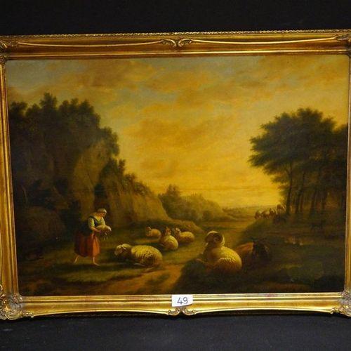 "ANTIEK SCHILDERIJ ""Shepherdess with sheep"" Oil on panel Rear paintwork stamps 78…"