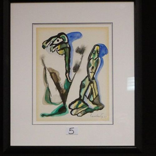"LUCEBERT (1924 1994) ""Strange figures"" Mixed technique Signed and dated 1990 COB…"