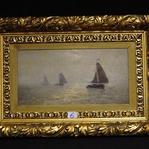 """FRANCOIS MUSIN (1820 1888) """"Marine"""" Oil on canvas on panel Signed """"MOERDYCK 5 JU…"""