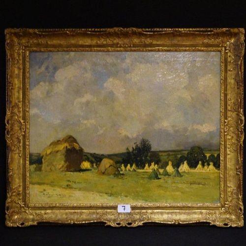 """MAURICE WAGEMANS (1877 1927) """"Harvest Landscape"""" Oil on canvas Signed 80 x 100 c…"""