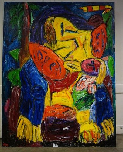 """ETIENNE ELIAS (1936 2007) """"Mummy"""" Oil on canvas Signed Back titled 180 x 140 cm"""