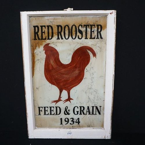 "RECLAMEPANEEL IN HOUT EN GLAS ""RED ROOSTER FEED AND GRAIN 1934"" Dimensions: 96 x…"