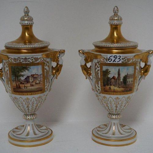 2 MOOIE DEKSELVAZEN IN PORSELEIN IN EMPIRE STIJL Signed DRESDEN Decorated Decor …
