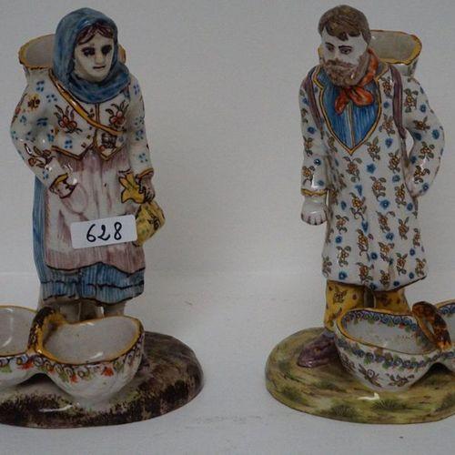 2 FRANSE BEELDEN IN GEGLAZUURD AARDEWERK Handpainted 1 basket on the back restor…