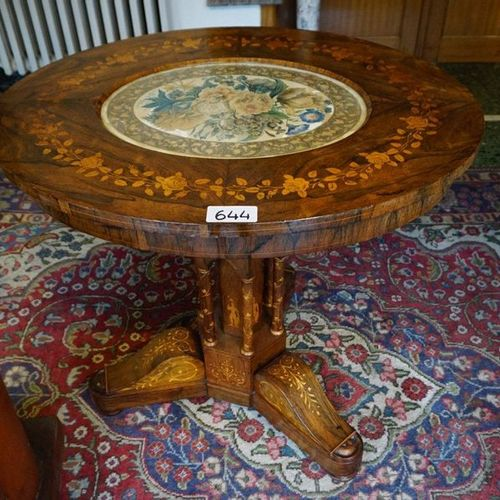 PRACHTIGE ANTIEKE OVALE MARQUETTERIE TAFEL On central leg also decorated with ma…