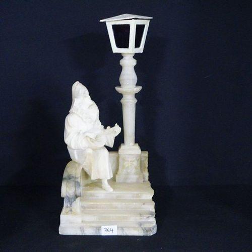"MOOIE GROEP IN ALBAST (lampadaire) Ca.1900 ""Musical Pierrot"" Restored H: 55 cm"