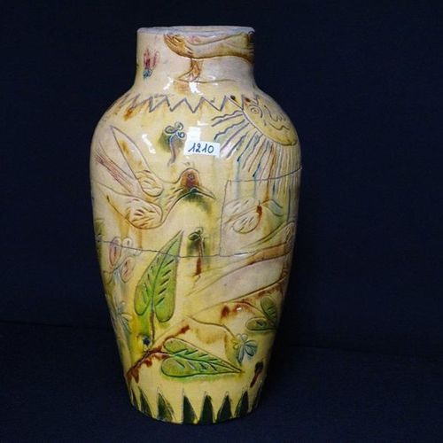 VERZAMELVAAS BREDENS pottery Decor with sun, birds and leaves Restored H: 40 cm