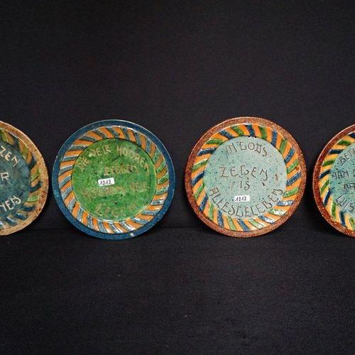 "4 BORDEN MET ZELDZAME SPREUKEN Flemish pottery ""Better a thief at the handle tha…"