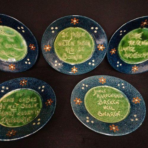 "5 BORDEN MET ZELDZAME SPREUKEN Flemish pottery ""Doing work is a noble pious"" , ""…"