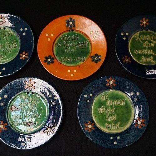 "5 BORDEN MET ZELDZAME SPREUKEN Flemish pottery ""Reasonable can go anywhere"" ""Old…"
