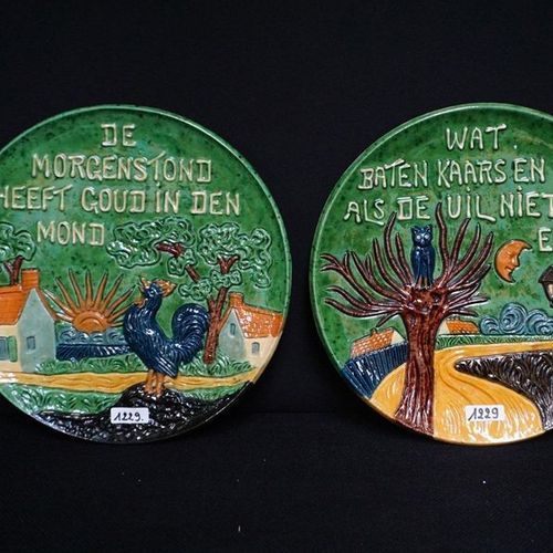 "2 BORDEN MET SPREUKEN Flemish pottery ""What benefits candle and glasses when the…"