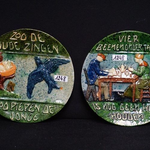 """2 BORDEN MET SPREUKEN Flemish pottery """"Zoo the old sing so squeak the young"""" and…"""