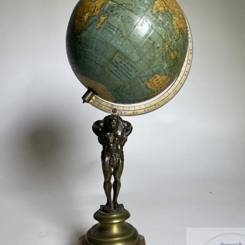 """World map supported by the god Atlas in bronze on a marble base. Made by """"Ernst …"""